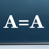 "A = A (Block Font) - Vinyl Decal/Sticker (5"" wide)"