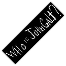 "Official ""Who is John Galt?"" Bumper Sticker (Black)"