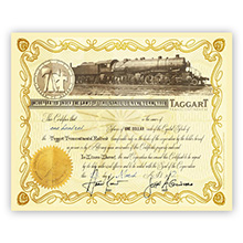 Official Taggart Transcontinental Stock Certificate