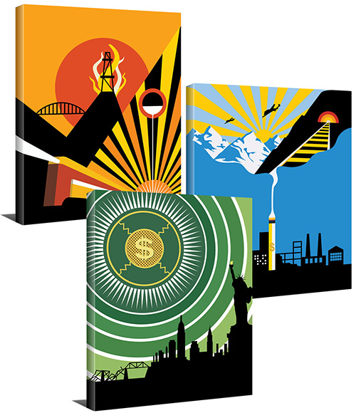 "Atlas Shrugged in 3 Part Art Deco Series (16""x20"" or 24""x30"" Gallery Wrapped Canvas Paintings) - SPECIAL ORDER (Ships in 7-10 days)"