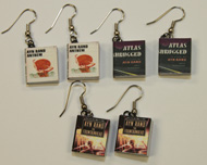 Miniature Ayn Rand Book Earrings