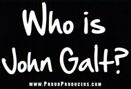 "Who is John Galt? Black Bumper Sticker (4"" x 6"")"