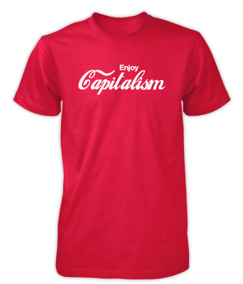 Enjoy Capitalism - Classic Red & White T-Shirt