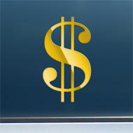 "Sign of the Dollar - Gold Mirror Decal/Sticker (2.5"" wide)"