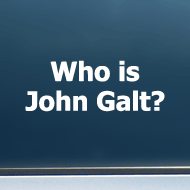 "Who is John Galt? (Plain Text) - Vinyl Decal/Sticker (5"" wide)"