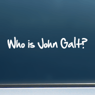 "Who is John Galt? (1-Line Graffiti) - Vinyl Decal/Sticker (8"" wide)"