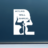 "Atlas Will Shrug (Boxy) - Vinyl Decal/Sticker (4"" wide)"