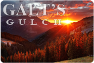 "Galt's Gulch Sunset Sticker (5.8"" wide)"