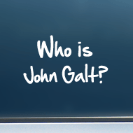 "Who is John Galt? (2-Line Graffiti) - Vinyl Decal/Sticker (5"" wide)"
