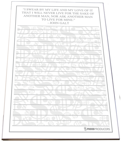 "John Galt's ""I Swear"" Quote Stationery Notepad (8.5"" x 5.5"", 50 pages)"