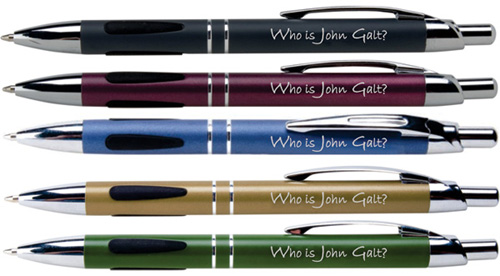 Who is John Galt? Engraved Click Pen (black ink)