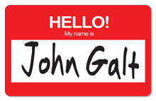 Hello! My Name is John Galt - Indoor Sticker