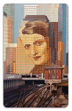 Portrait of Ayn Rand (Painting) - Indoor Sticker