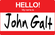 "Hello My Name is John Galt Sticker (3"" wide)"
