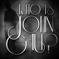 "Who is John Galt? Foggy Trenchcoat Sticker (3"" wide)"