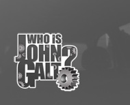 "Who is John Galt Metal Multi-Gear Sticker (3.8"" wide)"