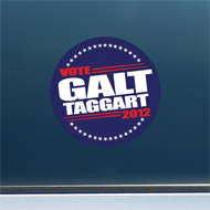 "Vote Galt/Taggart 2012 - Red, White & Blue Sticker (3"" diameter)"