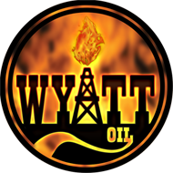 "Wyatt Oil Burning Circle Logo Sticker (4"" wide)"